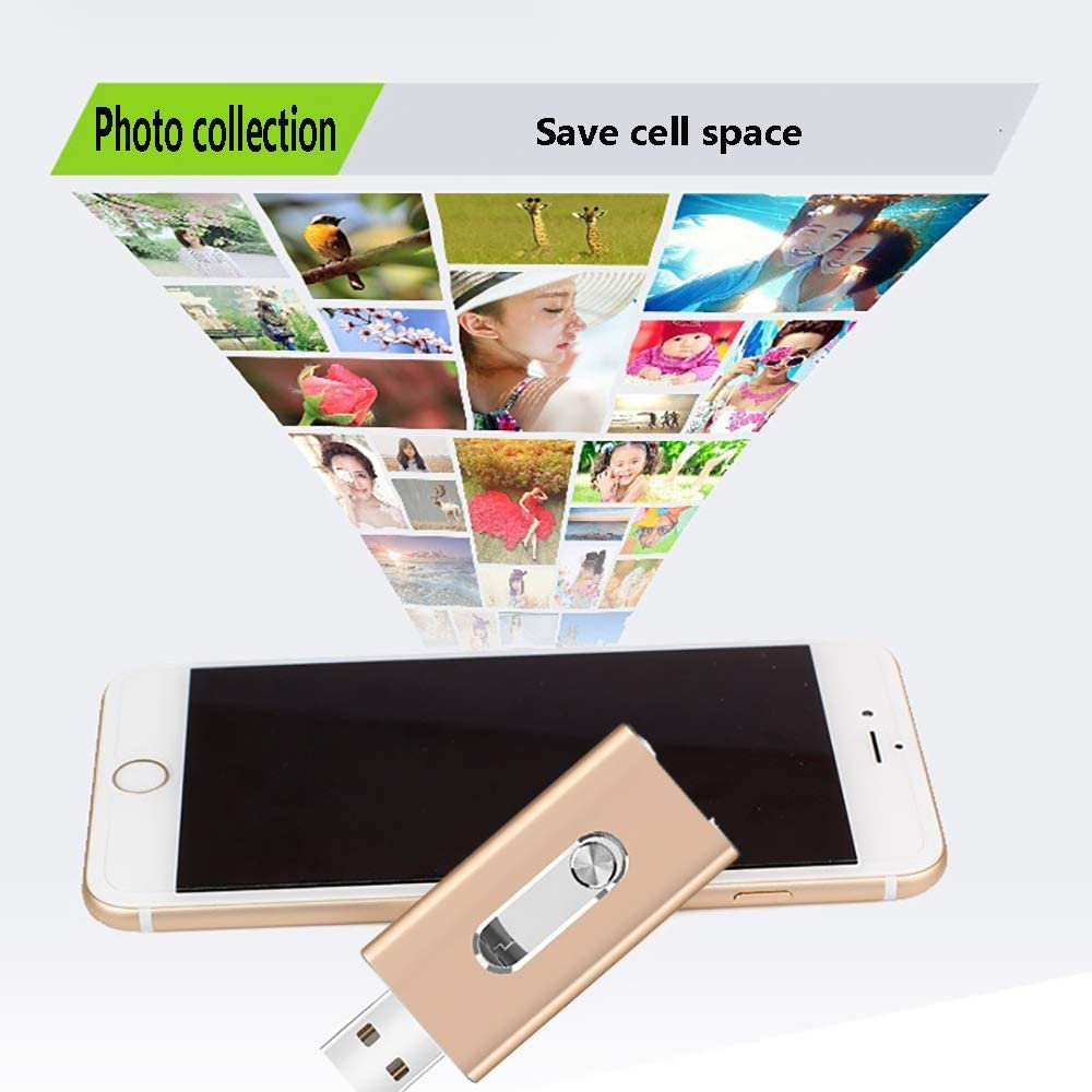 WANGOFUN Photo Stick for iPhone USB Flash Drive Photostick Mobile iOS Flash Drive Memory Stick for Android USB 3.0 Memory Stick Tablet MacBook PC External Storage Expansion 128GB,32GB