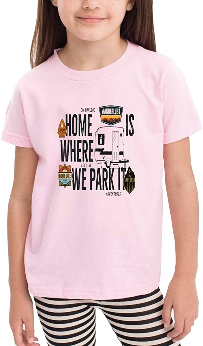 Onlybabycare Home is Where We Park It White Cotton T Shirt Lightweight Breathable Solid Tee for Toddler Boys Girls Kids