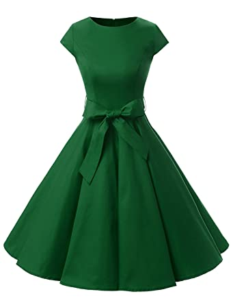 be4367345b7 Dressystar DS1956 Women Vintage 1950s Retro Rockabilly Prom Dresses Cap- Sleeve XS Army Green