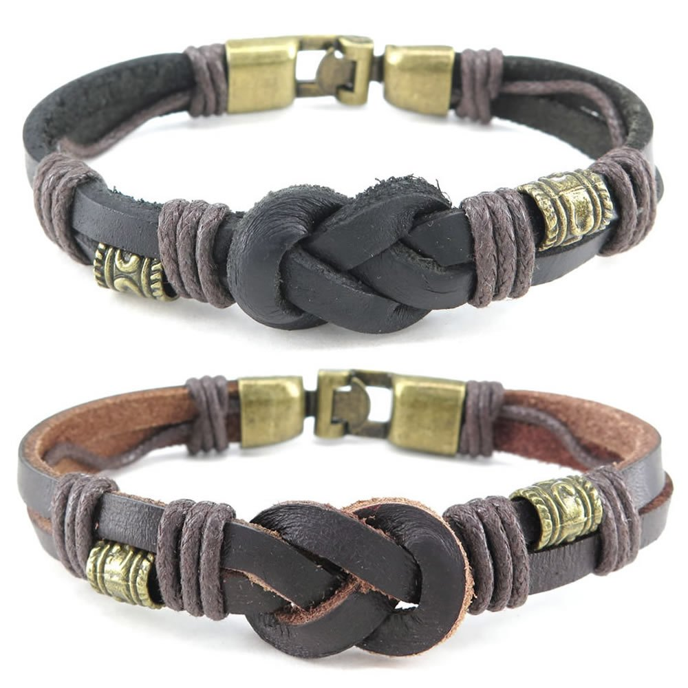 Konov Jewelry Leather Mens Womens Bracelet, 2pcs Vintage Infinity Bangle, Black Brown, with Gift Bag, C25267 10025267C