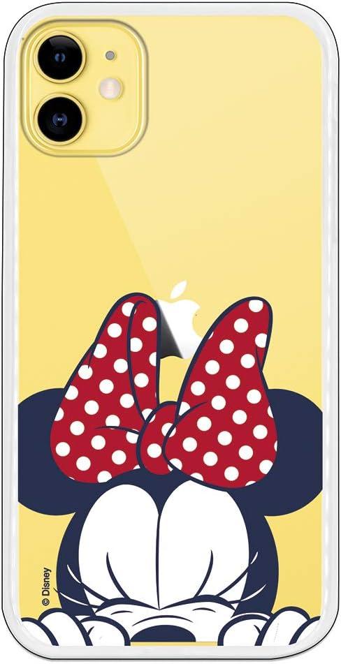Funda para iPhone 11 Oficial de Clásicos Disney Minnie Cara para Proteger tu móvil. Carcasa para Apple de Silicona Flexible con Licencia Oficial de Disney.