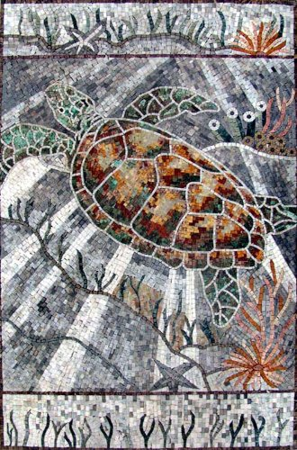- Sea Turtle Hand Made Marble Mosaic Decorative Wall Floor Bath Pool