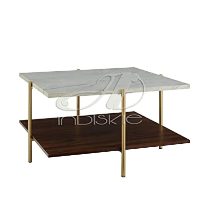Indiskie Square Marble Top Coffee Table With Wooden Shelf Gold