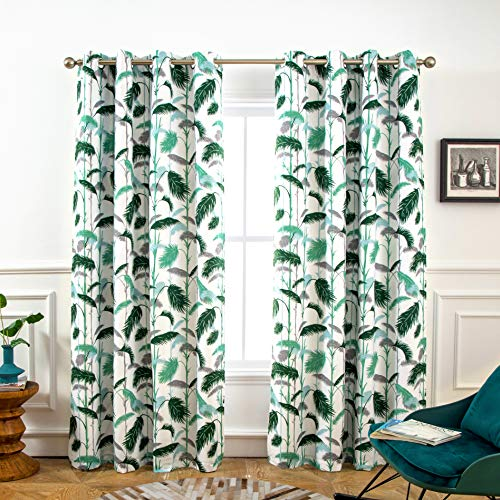 DriftAway Palm Leaves Lined Blackout/Room Darkening Grommet Lined Thermal Insulated Energy Saving Window Curtains, 2 Layer, Set of Two Panels, Each 52