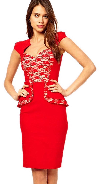 La vogue Festlich Rot Anbend Damenklerder Sommerkleider