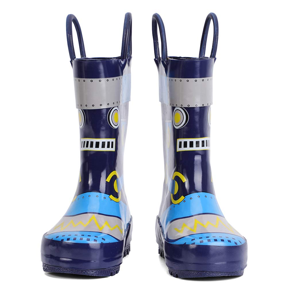 Ranly /& Smily Kids Waterproof Rubber Rain Boot with Easy Pull On Handles