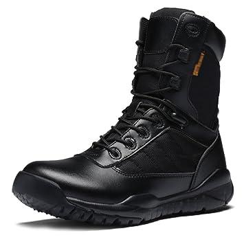 MERRYHE Botas De Combate De Cuero Negras Calzado De Policía De Seguridad Militar para Hombre Botas