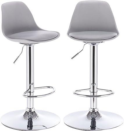 KAYELLES tabourets de bar cuisine design SIG lot de 2 chaises de bar réglable (Gris)