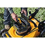 Dewalt 20v max lawn mower, 3-in-1, 2 batteries (dcmw220p2) 25 push mower comes with powerful brushless motor and (2) 20v max* batteries working simultaneously for high power output. 3-in-1 push lawn mower for mulching, bagging and side discharging battery lawn mower has heavy-duty 20-inch metal deck