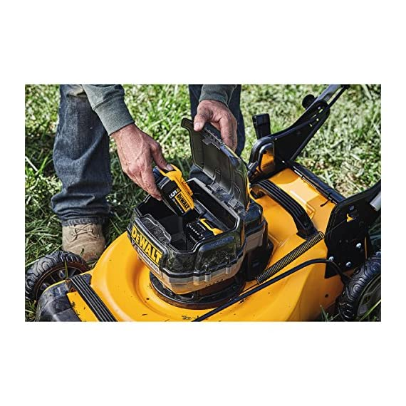 Dewalt 20v max lawn mower, 3-in-1, 2 batteries (dcmw220p2) 9 push mower comes with powerful brushless motor and (2) 20v max* batteries working simultaneously for high power output. 3-in-1 push lawn mower for mulching, bagging and side discharging battery lawn mower has heavy-duty 20-inch metal deck