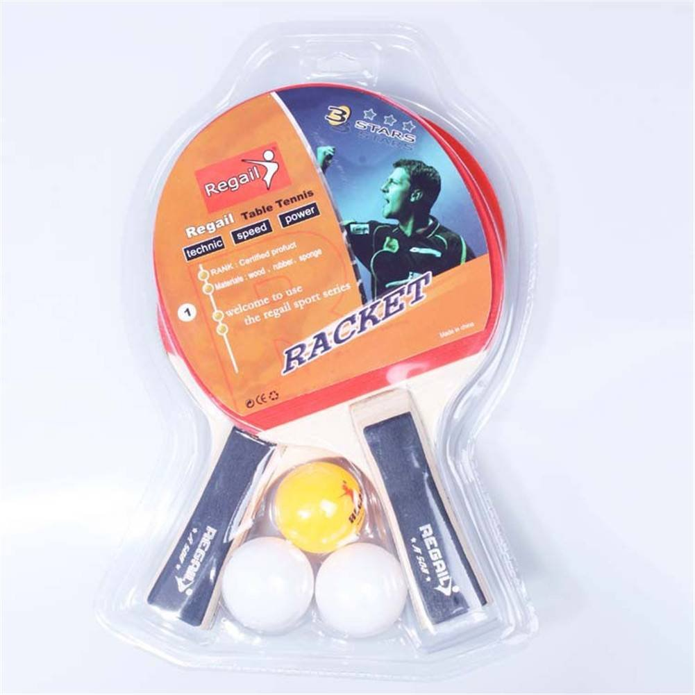 Amazing Table Tennis Ping Pong Racket Two Long Handle Bat Paddle Three Balls