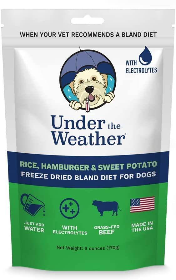 Under the Weather Pets   Rice, Hamburger, Sweet Potato   Easy to Digest Bland Dog Food Diet for Sick Dogs Sensitive Stomachs - Electrolytes, Gluten Free, All Natural Freeze Dried 100% Human Grade Meat