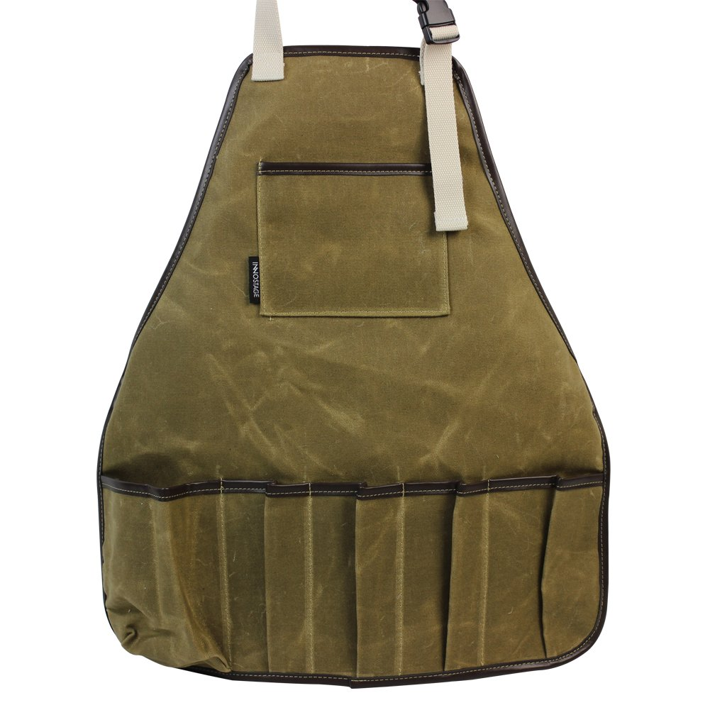 INNO STAGE Garden Tools Apron,Waxed Canvas Work Bib Aprons with Pockets,Full Coverage Utility Apron,Hand Tool Organizers,Gardening Carpentry Lawn Care Accessories for Women and Men-Khaki
