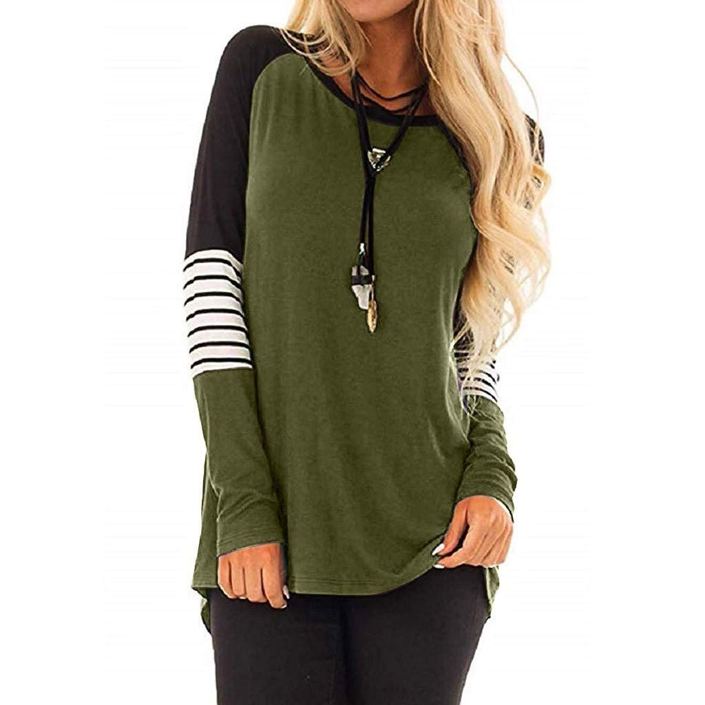 QIUUE Women Loose Long Sleeve Stripe Color Block Tunic Comfy Plus Size Round Neck T-Shirt Tops Pullover Sweatshirt Blouse 2XL-5XL Army Green by QIUUE