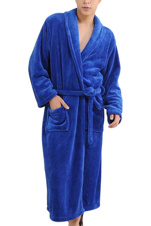 Vosujotis Men Classic Bathrobe Turkish Warm Belted Pockets Cloth Robe Pajamas