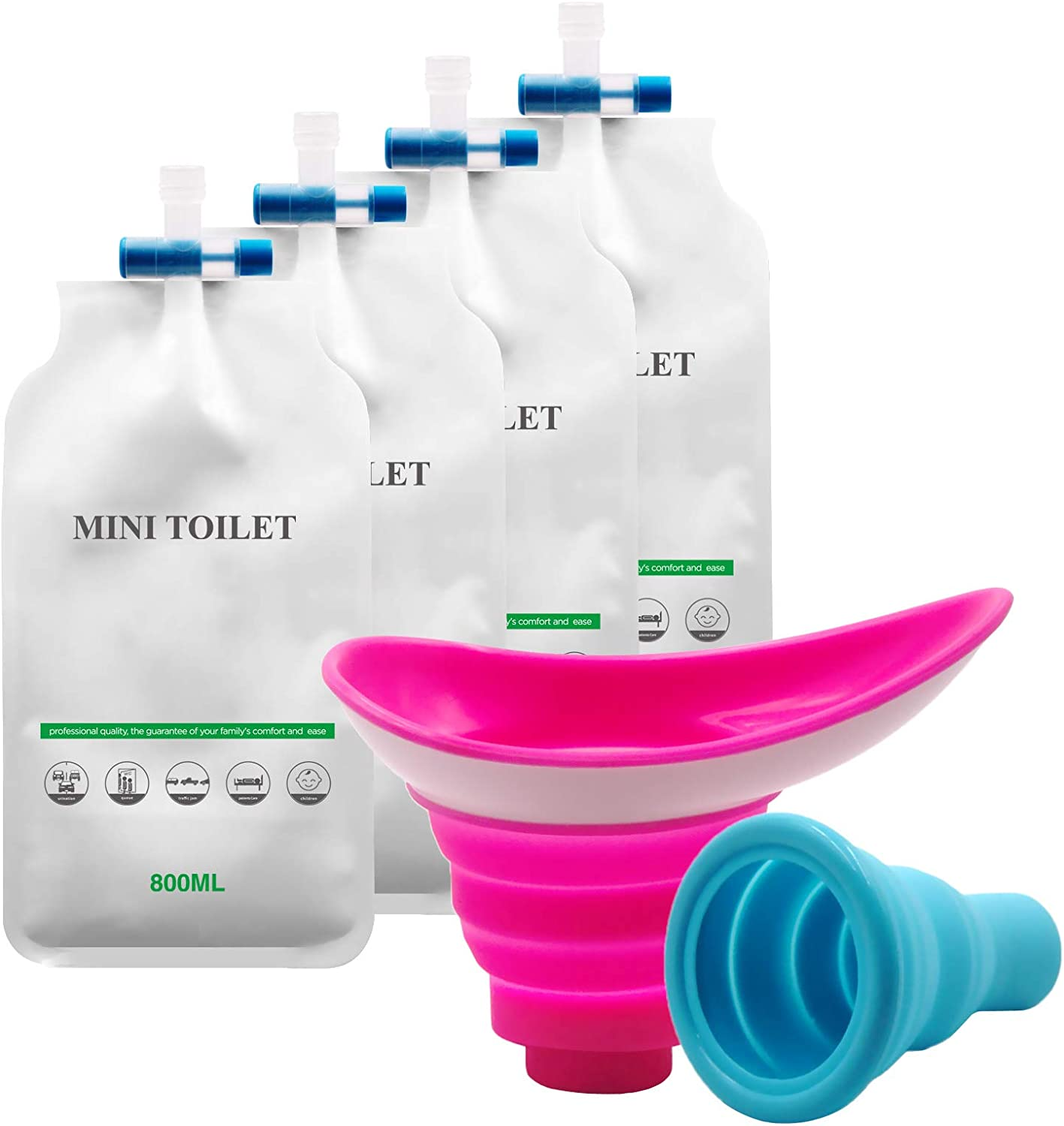 YYAN Urinal Device Female Male Urination Bag Silicone Foolproof Shrinkable Portable Women Man Pee Funnel