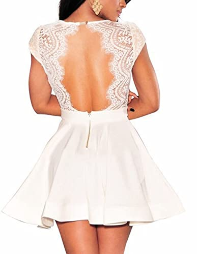 NuoReel Women's Lace Nude Illusion Skater Club Dress