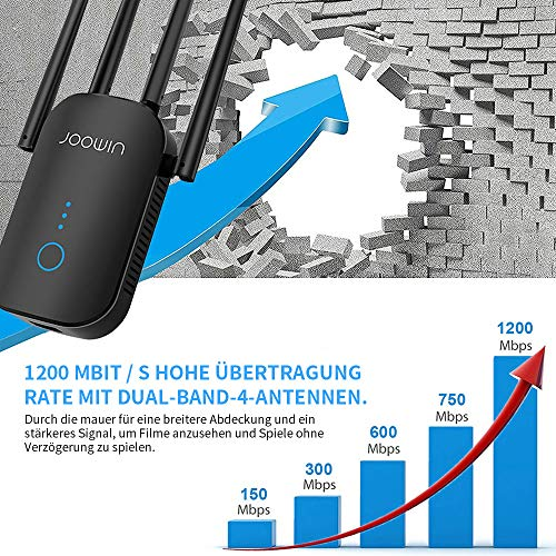 JOOWIN WLAN Repeater, 1200Mbit/s WLAN Verstärker Dual Band WiFi Repeater mit AP-Modus/Repeater/Router, WiFi Range Extender kompatibel mit Allen WLAN Geräten (schwarz)