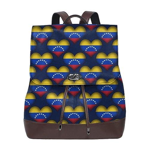 mochila de cuero para mujer Venezuela Love Women Backpack Leather ...