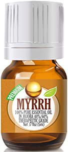 Myrrh Essential Oil - 100% Pure in Jojoba (40%/60% Ratio) Best Therapeutic Grade - 5ml