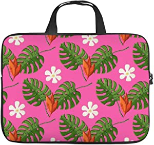 """Tropical Pattern with Monstera Leaves and Flowers 10 Inch Laptop Sleeve Case Protective Cover Carrying Bag for 9.7"""" 10.5"""" Ipad Pro Air/Samsung Galaxy Tab"""