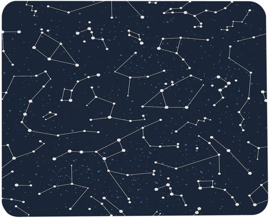 Wozukia Constellations Mouse Pad Sky Map Stars Pattern Andromeda Cygnus Lyra Hercules Draco Bootes Dark Blue Rubber Mouse Pads Customized Mouse Mat for Men Office Dorm Computer Laptop 7.9x9.5 Inch