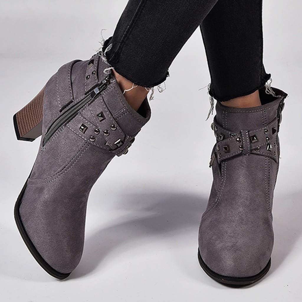 Hemlock Ankle Boots Women,Ladies Winter Dress Boots Zipper High Heels Booties Shoes Pointed Top Boots