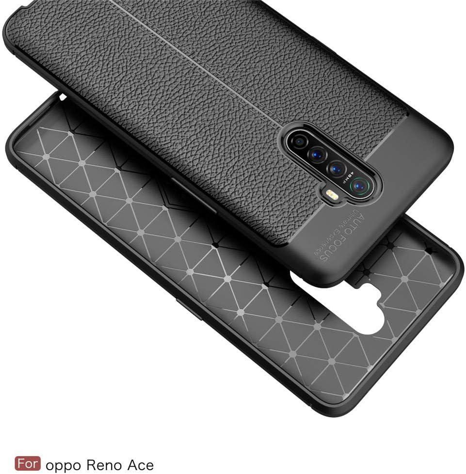 Bigcousin Funda con Cuerda Compatible con OPPO Reno Ace//Realme X2 Pro,Transparente de TPU con Ajustable Collar Cadena Cord/ón,Rojo