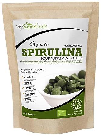 Tabletas de espirulina orgánica (300 tabletas x 500 mg), MySuperFoods, Envasadas con proteínas, calcio y vitaminas, Ricas en nutrientes, certificadas ...