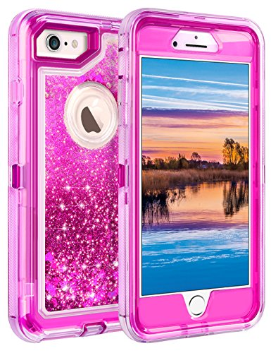 Coolden Case for iPhone 6S Plus Case Protective Glitter Case for Women Girls Cute Floating Liquid Heavy Duty Hard Shell Shockproof TPU Case for iPhone 6 Plus 6S Plus 7 Plus 8 Plus 5.5, Rose