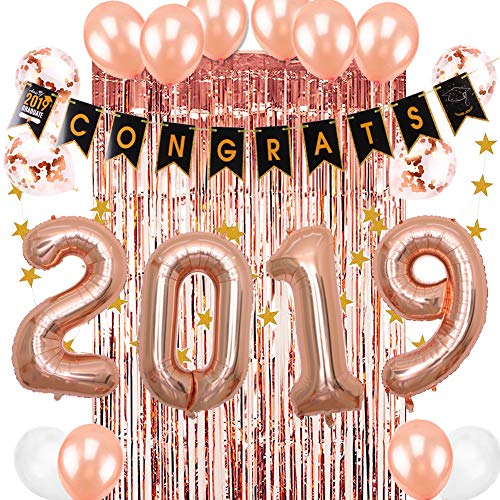 2019 Graduation Party Supplies Fringe Tinsel Curtain Congrats Banner Class of 2019 Foil Balloons Rose Gold Easy Joy (Rose Gold)