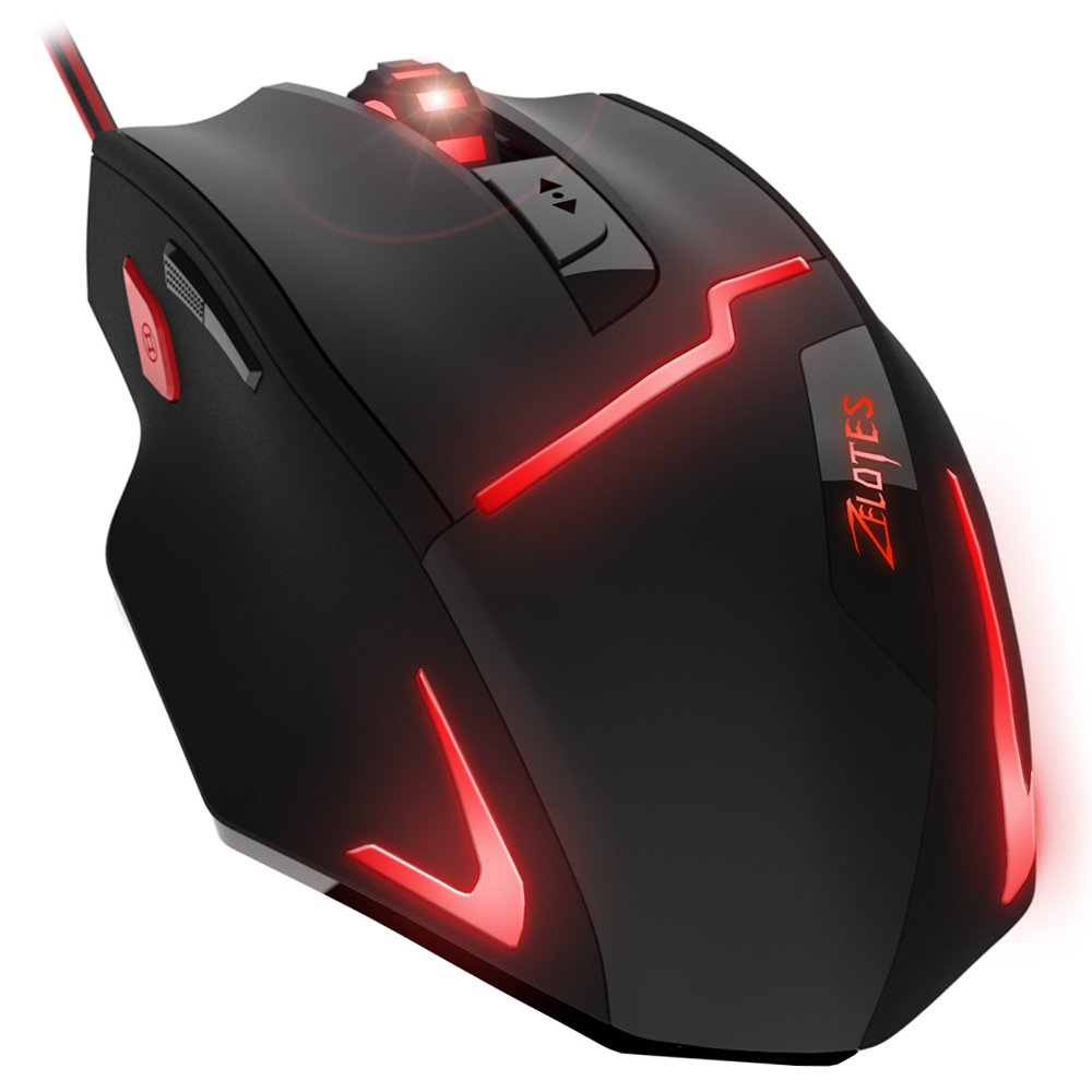 DLAND FPS Gaming Gamer Mouse [7200DPI High Precision],[Fire Button],[LED Breath Light] ZELOTES Ergonomic Wired Optical Computer Mice for PC/Laptop/Desktop/Mac