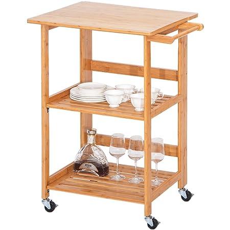 Harper Bright Designs WF039320DAA Folding Home Kitchen Island Storage Cart with Wheels Nature