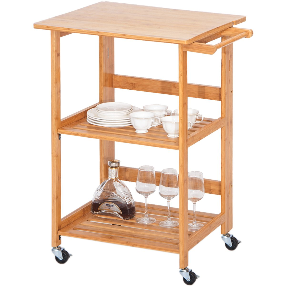 Harper&Bright Designs WF039320DAA Folding Home Kitchen Island Storage Cart with Wheels, Nature