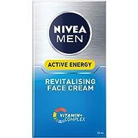 NIVEA MEN Active Energy Skin Revitaliser Face Cream Moisturiser Formulated with Chamomile, Hamamelis & Vitamin + Complex…