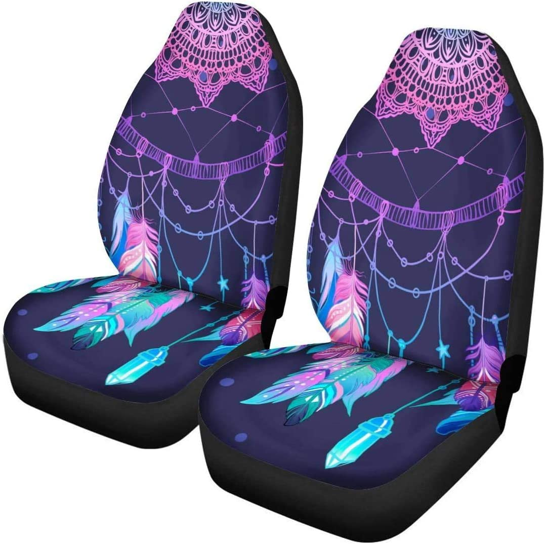 INSTANTARTS 2 Piece Polyester Comfort Galaxy Front Car Cushions Vehicle Seat Protector Car Seats Covers Fit for SUV Sedan Van