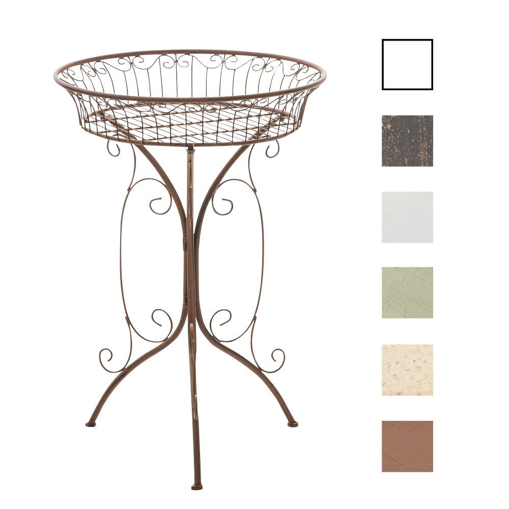 CLP Round Garden Plant Table MARGO made of iron, with nice details, vintage design, height 72 cm, choice of colours bronze