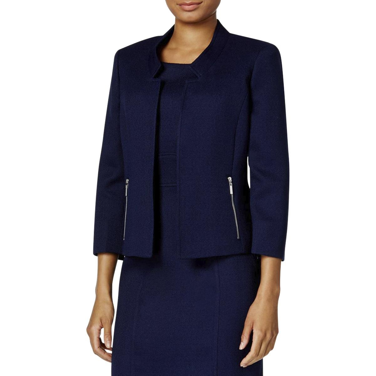 Kasper Women's Petite Size Mandarin Collar Textured Flyaway Jacket, Bright Navy, 6P by Kasper