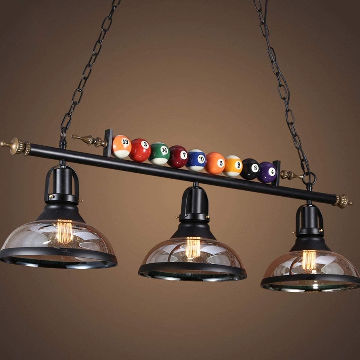 Simple Retro Pool Table Light 3-Light Billiard Pendant Light with Billiards Ball and Clear Glass Shade for Game Room Beer Party