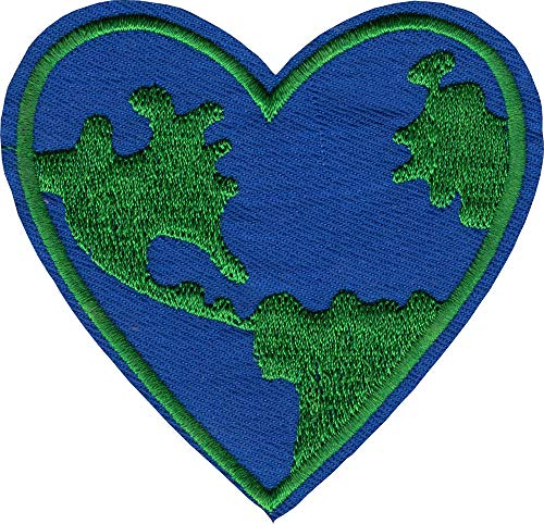 Planet Earth Heart - Cut Out Embroidered Iron On or Sew On Patch (Patches Planet Earth)