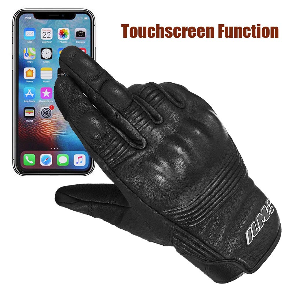 L, Black Unperforated ILM Goatskin Leather Motorcycle Motorbike Powersports Racing Gloves Touchscreen For Men and Women Black