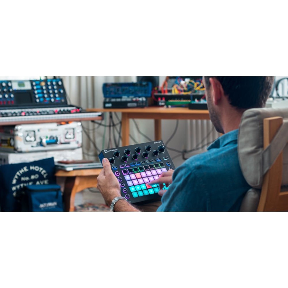 Novation Circuit Groove Box and Sample Import Bundle with 2 MIDI to 2 MIDI (Dual) Cable + Samson Stereo Headphones + Fibertique Cleaning Cloth by Photo Savings (Image #4)