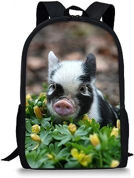 Animal Pig Casual Lightweight Kids Bookbag School Backpack Satchel
