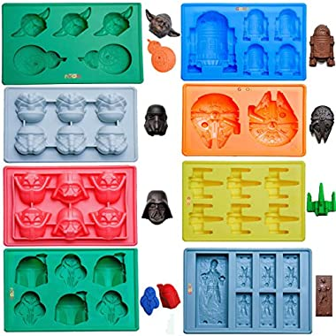 Gooj- Set Of 8 Star Wars Themed Silicone Molds, Now With Yoda and BB-8 Mold, For Desserts, Candles & Ice Cubes-Premium FDA Approved Silicone - Comes With 2 E-Books Download Instructions