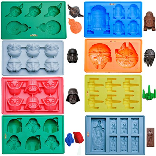 Gooj- Set Of 8 Star Wars Themed Silicone Molds, Now With Yoda and BB-8 Mold, For Desserts, Candles & Ice Cubes-Premium FDA Approved Silicone by Gooj