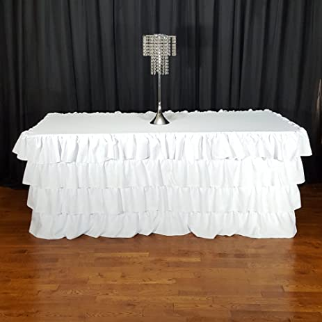 Four Layer Ruffle Tablecloth White For 8 Foot Tables