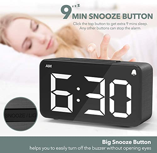 Alarm Clock,Digital Alarm Clocks for Bedrooms with Adjustable Brightness Dimmer,6 LED Screen Display,Snooze,12 24Hr,Easy Electric Beside Clock with Adapter,Wood Grain Desk Clock for Kids and Adults