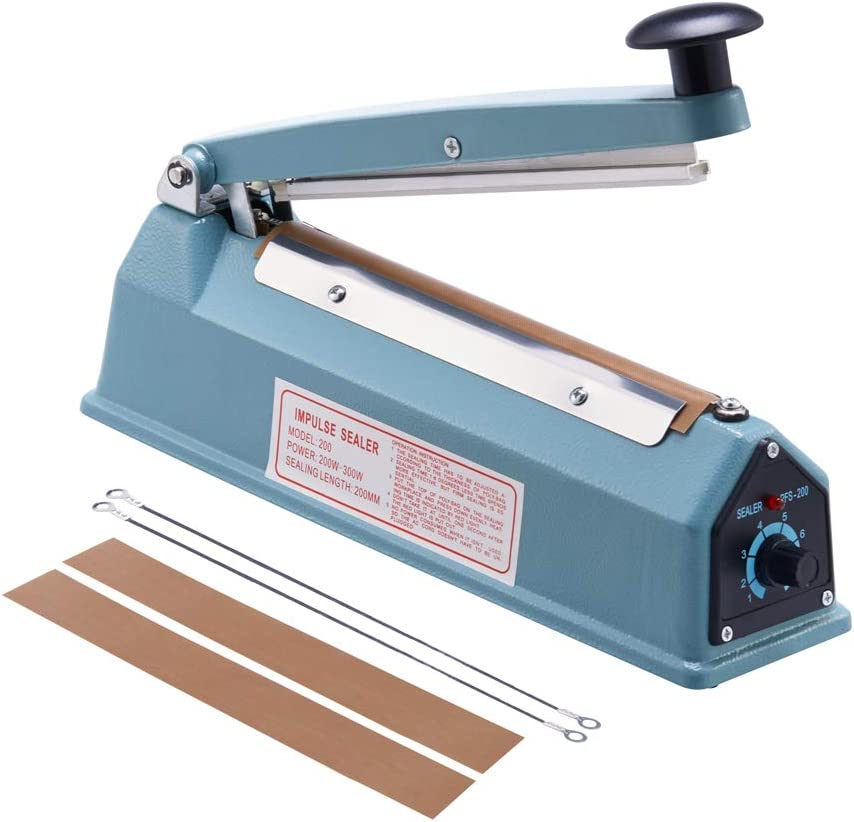 Eletional 8 inch Impulse Bag Sealer,Manual Bag Sealer Heat Seal Closer,2 Free Replacement Kit 61E0wm4JY1L