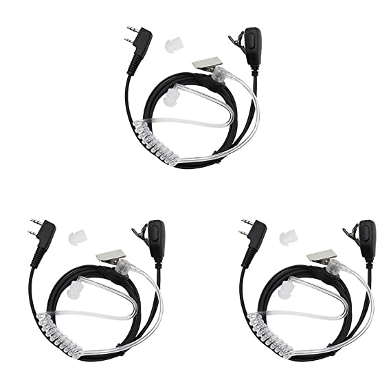 Tenq 2-pin Covert Acoustic Tube Earpiece Headset for Kenwood Puxing Wouxun Baofeng Two Way Radio 2pin 6 Pack