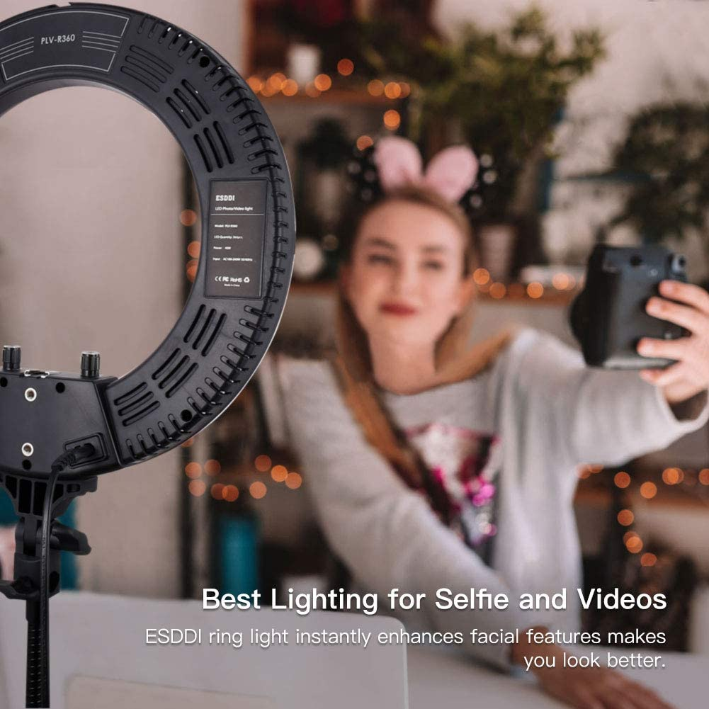 for Video Shooting Portrait YouTube Makeup Dimmable Video LED Light Kit Phone Adapter Selfie ESDDI 14inch Outer Adjustable Color Temperature 3200K-5600K with Stand Ring Light Vlog